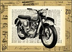 Vintage Triumph Motorcycle Illustration / Collage Print on old Dictionary Page | #MotorcycleLove #LivetoRide #BikeLife
