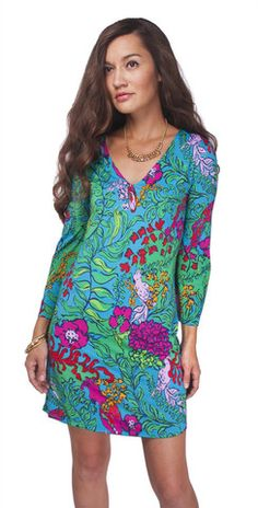 """Lilly Pulitzer Jade Tunic Dress Shake Your Tailfeather Multi Print...I love that this is Lilly Pulitzer's idea of """"Fall Fashion!"""" So true to their style! $178 #LillyPulitzer #FallFashion #Resort #Dress #Shift"""