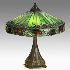HANDEL bronze & slag glass table lamp