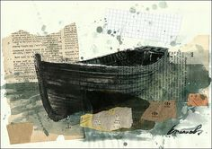 Print Art Ink Drawing Old Boat Painting Illustration Gift by rcolo, $10.00