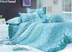 Charming Light Blue Florals and Wash Printed 4 Piece Bedding Sets with Cotton