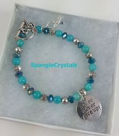 Never Never Give Up - Turquoise & Teal Beaded Bracelet with Toggle Clasp by SpangleCrystals on Etsy
