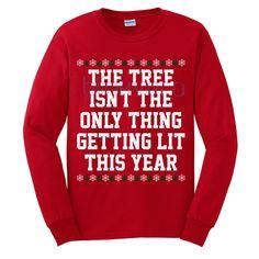 Lit christmas tree funny style christmas sweater t shirt 25 Xmas Shirts, Funny Christmas Shirts, Ugly Christmas Sweater, Cool Shirts, Family Christmas Cards, Christmas Gift Decorations, Christmas Tree, White Christmas, Christmas Gifts