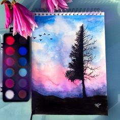 "7,052 Likes, 153 Comments - Jana Grote (@jg_draws) on Instagram: ""Spring is coming 💗🌸☁️"" Water Colour Ideas, Water Colour Painting Ideas, Water Colour Birds, Watercolour Pencil Art, Sunset Watercolour, Watercolor Canvas, Watercolor Paintings, Watercolor Pencils Techniques, Watercolor Galaxy"