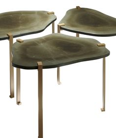 Turtle Side Tables. Olive Green