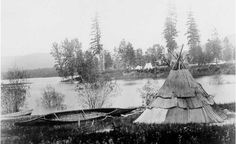 Kalispel lodge and canoe – 1860