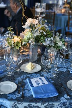 Vintage Blue Table Linens and Silver Vase Centerpieces