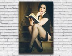 Vintage Pinup Girl Reading. 1920s girl with book.  Sexy wall art by Velvet DeCollete