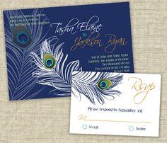 Peacock Wedding Invitation Sample Set. $3.50, via Etsy.