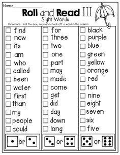 Roll and READ a sight Word!