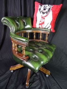 stunning chesterfield directors captains chair aged green leather