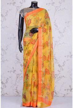Blended Chiffon Zari-Yellow-Printed-WK1085 Floral Print Sarees, Printed Sarees, Floral Prints, Yellow Print, Kimono Top, Chiffon, Tops, Women, Fashion