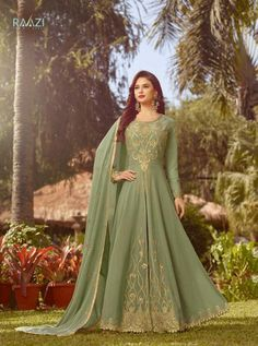 RAAZI D.NO.-20017 RATE: 2160 - RAMA RAAZI VOL 7  20017 TO 20024 SERIES  WHOLESALE SOFT GEORGETTE DESIGNER HEAVY EMBROIDERY PARTY WEAR SUITS COLLECTION AT WHOLESALE RATE AT DSTYLE ICON FASHION CONTACT : +917698955723 - DStyle Icon Fashion