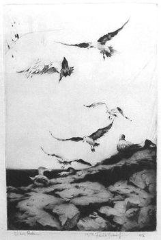 "Paul Niemiec ""Urchin Rocks 22/75"" Limited Edition Drypoint Etching 9 x 6"