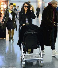 Kim Kardashian and Kanye West jet into New York with little Nori #dailymail