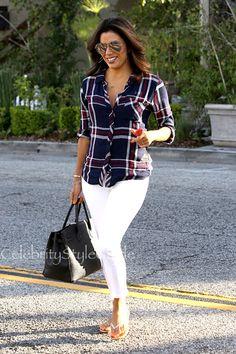 Eva Longoria Makes Plaid Look Oh-So-Fab in a Rails Button Down Shirt.