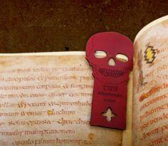 memento mori bookmark skull carving skull head black by skrocki Custom Bookmarks, Bookmarks For Books, Personalized Bookmarks, Grimoire Book, Leather Bound Journal, Small Skull, Leather Guitar Straps, Skull Head, Black Skulls