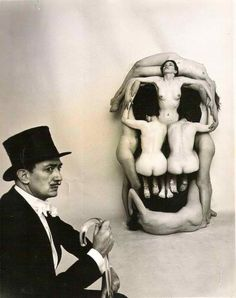freedom-through-chaos:    Dali and his skull made of naked girls. You go Dali.