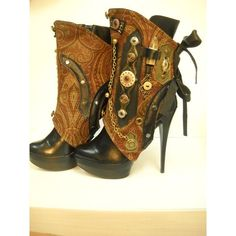 By J. Souza Steampunk spats- one-of a kind- ref st10- ❤ liked on Polyvore featuring steampunk e shoes