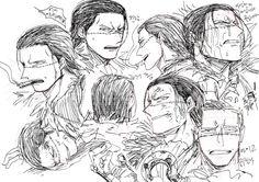 Laura @ leather studded kiss in the sand ( One Piece Comic, One Piece Fanart, Sir Crocodile, One Piece Drawing, 0ne Piece, Anime Guys, Straw Fedora, Anime Boys