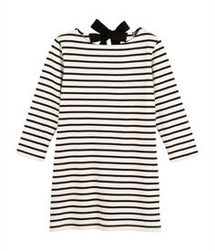 Women's sailor-striped dress in heavy jersey beige Coquille / blue Abysse - Petit Bateau