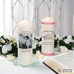 Turn a plain pillar candle into a special part of your wedding ceremony. This simple project lets you accessorize and customize the candle for any wedding theme or colors. To create, wrap a photo printed on vellum paper around the candle, glue and embellish. Use the candle during your ceremony, display it at your reception or make several to use in centerpieces - be creative!
