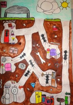 Thomas Elementary Art: The Underground Lives of Ants by grade - Art Sub Plans, Art Lesson Plans, Kindergarten Art, Preschool Art, Kids Art Class, Art For Kids, Ant Crafts, Ant Art, Third Grade Art