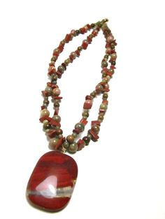 Red Jasper Beaded Necklace - a Handcrafted Original by SplendidStones on Etsy, $40.00