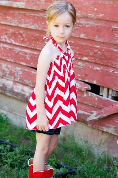 Girls Red and White Chevron Halter Top by bittythreads on Etsy, $26.00