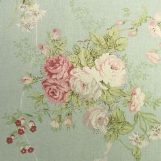 Vintage Style Shabby Chic Linen Blend FABRIC Rose Flowers Mint Green Ivory DIY