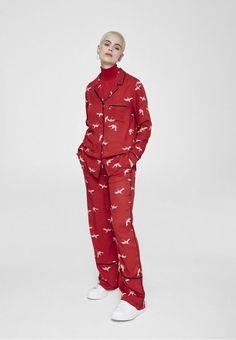ARMEDANGELS | Bendi Cranes In The Sky Hose Jumpsuit Allover - scarlet red
