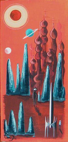 El Gato Gomez Painting Mid Century Modern Retro Space Sci Fi Rocket Futuristic   eBay