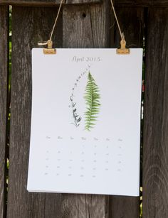 Botanical Calendar 2015, Eco Friendly by MyPaperKittens on Etsy https://www.etsy.com/listing/196535680/botanical-calendar-2015-eco-friendly