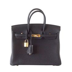 e5c196e41605 HERMES BIRKIN bag 25 Black gold hardware togo leather timeless beauty
