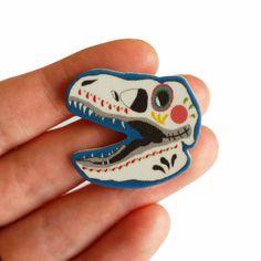 Brooch // Pin // shrink plastic // T-Rex sugar skull Dinosaur // sugar skull // day of the dead // quirky jewelry