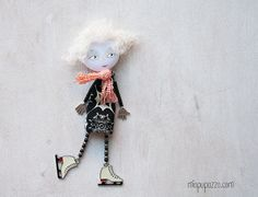 Let's Skate! Art Doll Brooch Little Skate Girl, mixed media collage