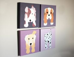 Dog paintings for baby / child nursery. Customized puppy pictures on canvas for kids rooms and playrooms (not prints) Set of 6