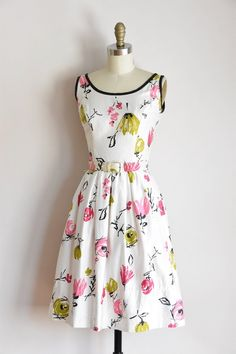 f9ac40232fc ON SALE 50s Canvas Bloom dress   vintage 1950s floral daydress  polished  cotton full skirt