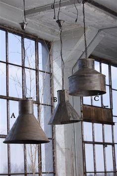 Vintage Metal Hanging Steel Funnel Lamps.. love love love