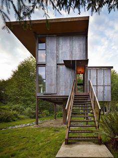 Steel Clad Tiny Modern Cabin