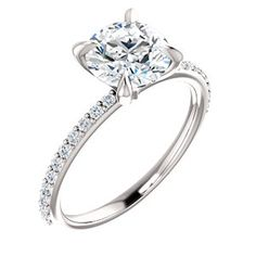AURORA style 122790 Slender Accented Shank Engagement Ring With Claw Prongs #everandeverbridal