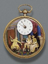 A GOLD AND ENAMEL OPEN FACED AUTOMATON AND MUSICAL POCKET WATCH, Swiss, circa 1800