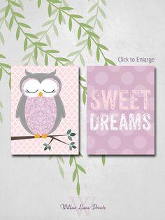 GIRLS 8x10 PRINT SET Owl Nursery Art, baby nursery decor
