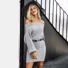 Simplee Off shoulder long knitted sweater dress