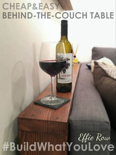 Easy DIY Behind the Couch Table - Bye Bye Spilled Wine! - Easy DIY Behind the Couch Table – Bye Bye Spilled Wine! cheap and easy DIY behind the couch table/shelf Shelf Behind Couch, Table Behind Couch, Sofa Shelf, Arm Rest Table, Diy Sofa Table, Sofa Tables, Entry Tables, Diy Simple, Easy Diy