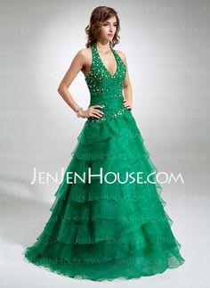 Quinceanera Dresses - $216.69 - A-Line/Princess Halter Floor-Length Organza Satin Quinceanera Dresses With Beading (021016403) http://jenjenhouse.com/A-line-Princess-Halter-Floor-length-Organza-Satin-Quinceanera-Dresses-With-Beading-021016403-g16403