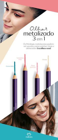 Olhar metalizado 3 em 1: os minilápis metalizados podem ser usados como sombra, lápis e delineador. Escolha o seu!