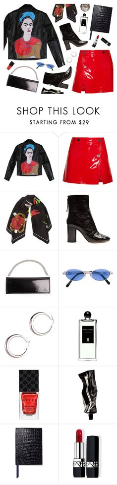 """""""Leather Look"""" by amalieknygberg ❤ liked on Polyvore featuring Topshop Unique, Moschino, Isabel Marant, Vetements, Jean-Paul Gaultier, Serge Lutens, Gucci, Aesop, Smythson and Christian Dior"""