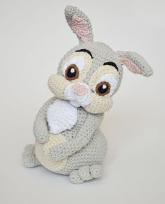 **Please note, this listing is for the PATTERN only, not the finished toy!** Thumper is a rabbit from Bambi. He is known and named by his habit of thumping his foot. Crochet rabbit, when finished, is 17 cm (6.5 inches) to the end of head, 23 cm (9 inches) with ears pointed up. This 16 page PDF tutorial contains more than 50 photos and detailed instructions on how to crochet the toy. It is written in English with standard crochet terms. It contains 1 page with abbreviations (You can always...