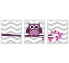 Owl Nursery Wall Art Print Set  -  Chevron Gray Pink Purple Tree Woodland Nursery  - Children Modern Baby Room Home Decor Set 3 8x10 Prints via Etsy